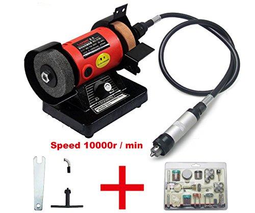 BG3108 Mini Amoladora de Banco, Esmeriladora Eléctrica de Mesa 120W 1000r/m + Herramientas de Regalo