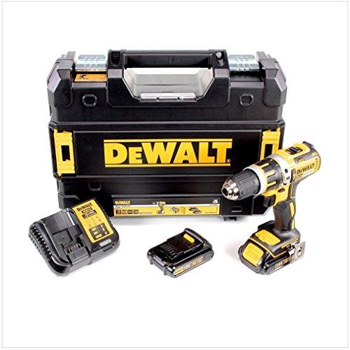 DeWalt XR Akku-Schlagbohrschrauber/Schlagbohrer (mit LED-Licht zum Schrauben, Bohren und Schlagbohren/1x Schlagbohrmaschine Li-Ion 18 Volt + 2 Akkus, Ladegerät und TSTAK-Box) DCD795S2