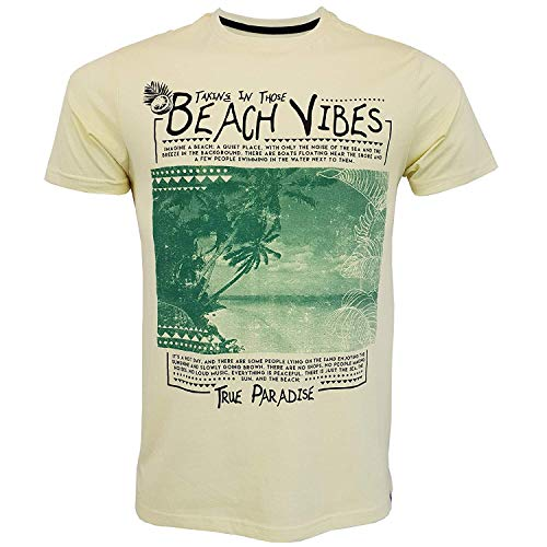 South Shore Hawaii (South Shore Herren Hawaii T-Shirt Strand Vibes Kurzärmelig Kopf For The Coast Top - Gelb - 1c10606, Small)