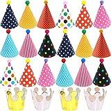 BESTZY 22pcs Chapeaux de Fête à Holographique Assorties Anniversaire Chapeau Papier de fête Décorations pour Enfants Adultes