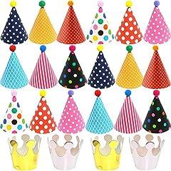 Idea Regalo - BESTZY 22pcs Cappellini per Feste Compleanno Bambini Cappellini Carta Colorati Party Cupcake Topper Compleanno Accessorio Decorazione Festa