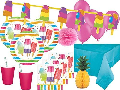 XXL 56 Teile Sommer Party Deko Set EIS Party 8 Personen