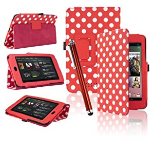 eLifeStore® Google Nexus 7 Tablet Case Polka Dots Integrated Stand Case Cover with Magnetic Sleep / Wake Sensor, Includes Bonus Screen Protector & Stylus Pen (Red and White Polka Dot)
