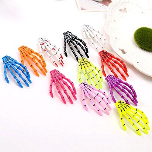 frcolor 100Haar Clips Punk Haarspange Skelett Hand Knochen Snap Claw mit Kopfbedeckungen Haarspangen für Frauen Kinder Mädchen