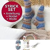 Socken Strick-Set für Anfänger von Myboshi, bestehend aus 1 Knäuel Lieblingsfarben Sockenwolle, 4-fädig und filzfrei (Klaus mit Stricknadeln)