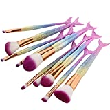 NEEDOON 10 Pièces Kit de Pinceaux Maquillage, Sirène Makeup Brushes Maquillage Brosse Ensemble Synthétique Kabuki Fondation Mélange Fard à joues Traceur pour les yeux Visage Poudre Maquillage Brosse Kit Beauté Produit de beauté Outils