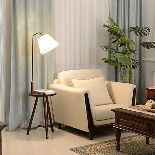 Moderne minimalistische Stehlampe Tischleuchte Holzstativ einfaches Leben weißer Stoff Schatten kreative Wohnzimmer Studie Leuchte, Walnuss Farbtabelle, 6W reine weiße Birne -