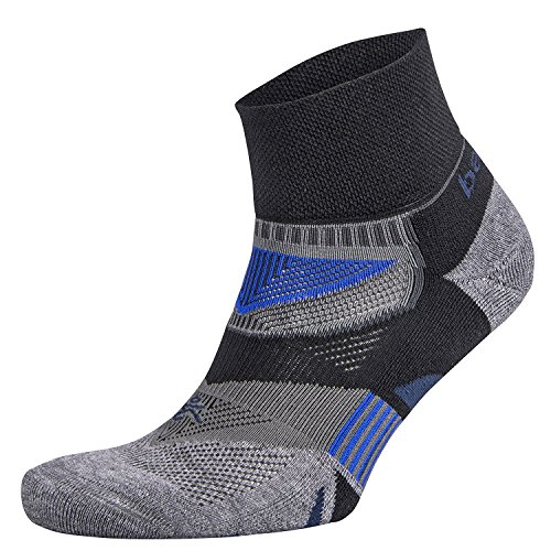 Balega Enduro V-Tech Quarter Sock, Black/Grey Heather, Large
