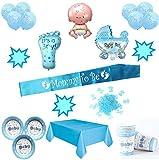 Layal Design Baby Shower Deko Set - Für eine Junge Babyparty (20 Personen / 76 Teilig)
