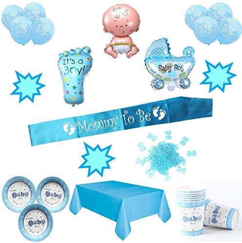 Layal Design Baby Shower Deko Set - Für eine Junge Babyparty (20 Personen / 56 Teilig)