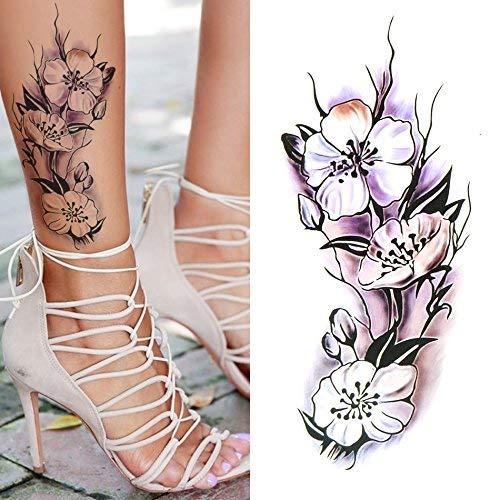Oottati Arm Brust Temporäre Tattoo Blume Frauen Lila (Set mit 2) (Purple Flower Tattoo)