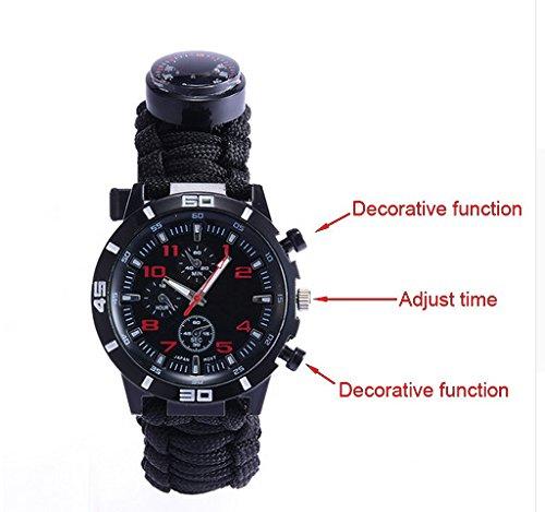 Bibu 6in 1Survival-Armband, Outdoor multifunktionale Notfall Survival Armband Uhr, Survival Kit Armband mit Seil, Pfeife, Kompass, Fire Starter, Notfall Messer, Armbanduhr für...