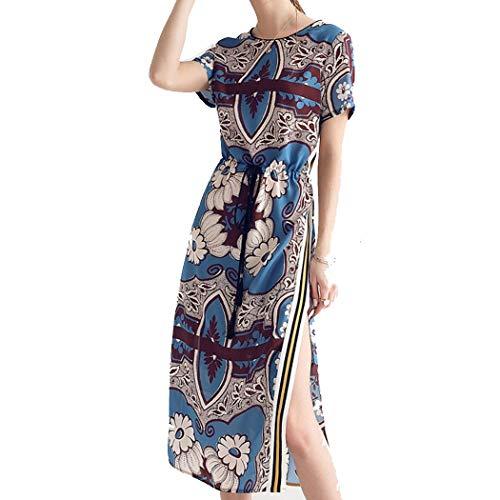 Nationalen Stil Persönlichkeit Frauen 100% Seide Kleid Sommer Kleid Split Gabel Farbe Seidenrock S-XL (Farbe : A, größe : M)