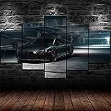 GIRDSS-Impression sur Toile - 5 Parties - Tableau Decoration Murale Salon Moderne XXL - Prete A Suspendre - Tableau pour La Mur - HD Peinture Contemporain-Affiche De Super Voiture Noire Audi R8 V10