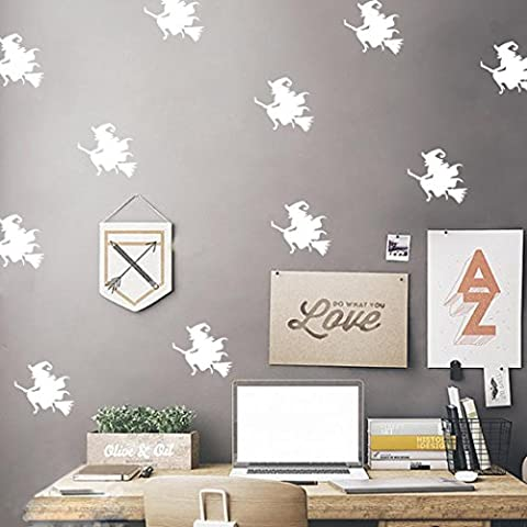 Indexp DIY Halloween Witches Wall Stickers, Creative Festival Decoration Decal (White)