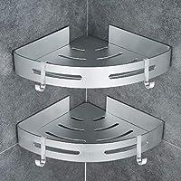 GERUIKE Shower Room Shelf No Drilling Corner Shower Caddy Self Adhesive Toilet Shelves Basket Aluminum Storage Bathroom Shower Accessories Triangle Silver 2 Tiers