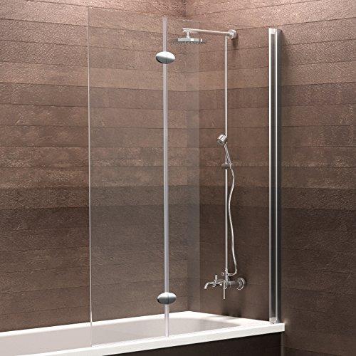 Schulte Duschwand Hamburg, 103x130 cm, 5 mm Sicherheitsglas klar, Profile chrom-optik, Duschabtrennung für Badewanne