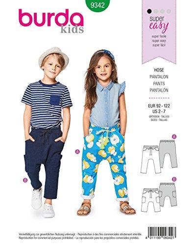 Burda 9342 Schnittmuster Gummizughose (Kinder, Gr. 92-122) Level 1 super Easy (Katalog Kleidung Kinder)
