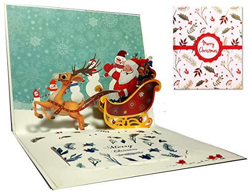 Weihnachtskarten, Deesos Karte 3D pop up Grußkarte mit schönen Papier-Cut, bestes Geschenk für Weihnachten, Umschlag enthalten, Chrismas Geschenkkarte, Santa Claus