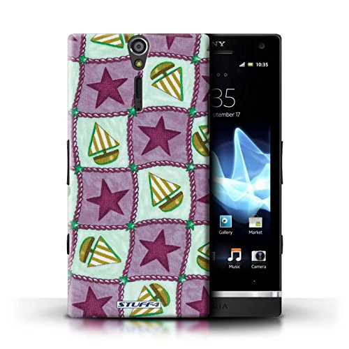 Kobalt® Imprimé Etui / Coque pour Sony Xperia S/LT26i / Violettes/Vertes conception / Série Bateaux étoiles Violettes/Vertes