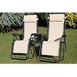 SET OF 2 Garden Sun Lounger Relaxer Recliner Garden Chairs in Light Beige Weatherproof Textoline With Adjustable Headrest and Multiple positions.