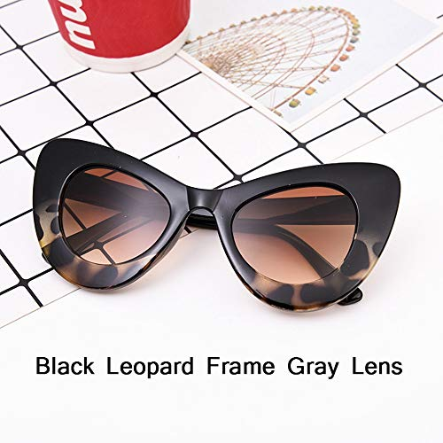 HUWAIYUNDONG Sonnenbrillen,Fashion Big Frame Sunglasses Women Classic Leopard Patter Cat Eye Glasses Femle Travel Black Bean