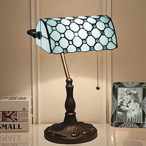 CCSUN Vintage Tiffany stil Tischlampe, Traditionellen Banker lampe Tabelle licht Mit Glasschirm E27 Legierung Schalter ziehen Nachttisch schreibtischlampe Für Schlafzimmer-Blau 39cm(15inch)