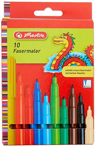 Herlitz 8649139 Fasermaler, 2 mm Spitze, 10 Stück -
