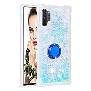 FAWUMAN Liquid Sparkly Quicksand TPU Gel Silicone Shockproof Phone Cover[Diamond Ring] Cases for Samsung Galaxy Note10+ / Note10 Pro / Note10 Pro 5G (Silver light blue stars)   1