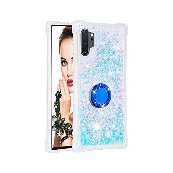 FAWUMAN Liquid Sparkly Quicksand TPU Gel Silicone Shockproof Phone Cover[Diamond Ring] Cases for Samsung Galaxy Note10+ / Note10 Pro / Note10 Pro 5G (Silver light blue stars) FAWUMAN 1.Compatible Model: Samsung Galaxy Note10+ / Note10 Pro / Note10 Pro 5G, glitter liquid case specially for teenage, girls and women. 2.3D Quicksand creative cover, make your mobile phone Shiny Luxury Sparkle Glitter around.the inside quicksand flowing freely, make your mobile phone special and gorgeous, bring more fun to you. 3.Made of hight quality TPU: Scratch resistant and shock absorbent soft TPU covers all four corners offering all around shock absorbent drop protection keeping phone safe from dents, scratches, and other daily wear. 1