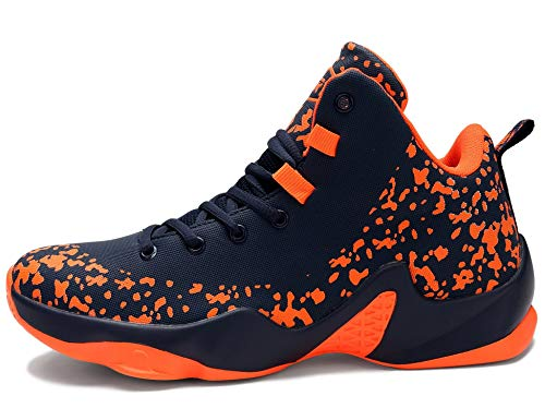 GNEDIAE Herren GNEF5 High-Top Basketball Schuhe Outdoor Anti-Rutsch Sneaker Atmungsaktiv Ausbildung Turnschuhe Sportschuhe Laufeschuhe Verschleißfeste Dämpfung Basketballstiefel Orange 44 EU