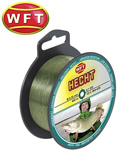 WFT Zielfisch Hecht 400m 0,30mm 8,1kg grün - Angelschnur zum Hechtangeln, Hechtschnur, Monofile Schnur für Hechte, Monoschnur