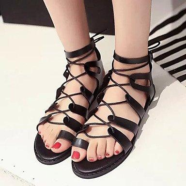 LvYuan Damen-Sandalen-Lässig Kleid-PU-Flacher Absatz-Komfort-Schwarz Weiß Black