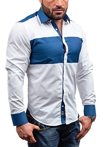 BOLF Langarm Herrenhemd Hemd Figurbetont Freizeit Slim Fit BY MIRZAD 5781 Weiß-Blau