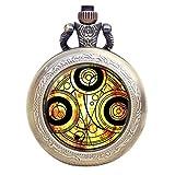 Dr Who gelb Gallifrey Timelord Dichtung Bronze Effekt Retro/Vintage Fall Full Hunter Herren/Jungen Quarz Taschenuhr Halskette–auf 81,3cm Zoll/80cm Kette