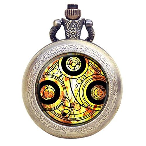 Dr Who gelb Gallifrey Timelord Dichtung Bronze Effekt Retro/Vintage Fall Full Hunter Herren/Jungen Quarz Taschenuhr Halskette-auf 81,3cm Zoll/80cm Kette