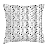 tgyew Doodle Throw Pillow Cushion Cover, Flowers on Lines Doodle Style Garden with Heart Motifs Valentines Day Pattern, Decorative Square Accent Pillow Case, 18 X 18 inches, Grey White Black