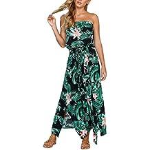 Robe imprimée, GreatestPAK Femme Floral Leaf Off épaule dames Plage d été  Lace Up 95f5c474af30
