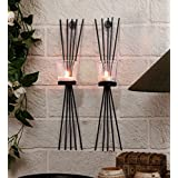 Tied Ribbons Metal Wall Sconces With Tealight Candle (11.43 Cm X 11.43 Cm X 40.64 Cm, TR-Christmas17WallSconce-005)