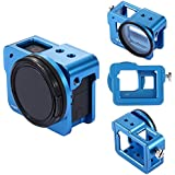 PULUZ Housing Shell Case CNC Aluminum Alloy Protective Cage With Insurance Frame & 52mm UV Lens For GoPro HERO 6 5 (Blue)