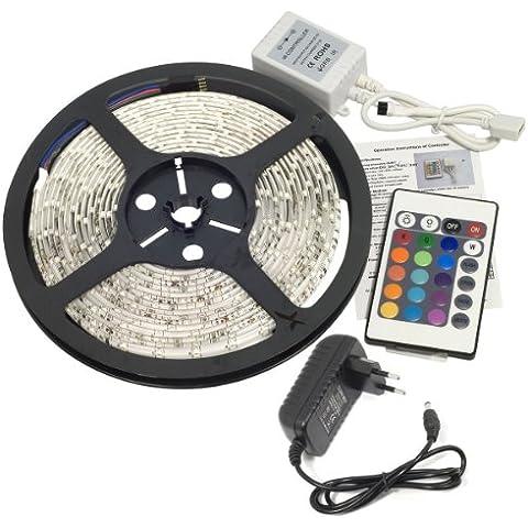 Tira LED 5M 300 3528 SMD RGB Control Remoto Impermeable Decoración Luz de Tira 12V IR Control Adaptador 12V para Boda Navidad Partido KTV Pub Bar