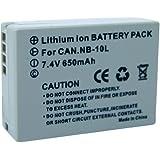 Conrad CANON NB-10L Lithium-Ion 920mAh 7.4V batterie rechargeable - batteries rechargeables (920 mAh, Lithium-Ion (Li-Ion), 7,4 V, Gris, 1)
