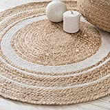 ANU Handwoven Jute Natural Fibres Braided Reversible Carpet for Bedroom Living Room Dining Room (Jute, 70 cm)