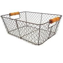 Nero Filo Basket archiviazione metallo della maglia Crate Vintage Chic industriale di stile Caddy (Basket Archiviazione)