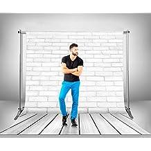 Soporte Telescópico Extensible + Fondo Fotográfico Textura Ladrillo Madera blanco en Lona de 500 gr de 230 x 180 cm   Con Vaina Superior para una Excelente Sujeción   Ideal para Estudios Fotográficos   Fotografos Profesionales   Fondos Fotografía