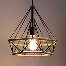 BBSLT Vintage di diamante industriale corda pendente, , il creative corda di ferro birdcage lampadario , diametro 25cm
