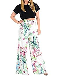 71f02925e3908 bliss Womens Ladies Leaf Tropical Floral Print Pattern Wide Leg Palazzo  Trousers Summer Holiday Casual Flared
