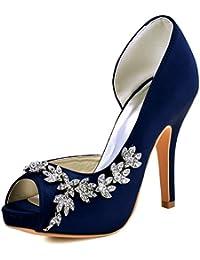 Elegantpark EP11045-IP Mujer Plataforma Peep Toe Tacón Aguja Arcos Satin Zapatos de Boda Novia