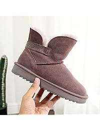 SWEAAY Boots Scarponi da Neve da Donna Scamosciati Fodera in Peluche  Artificiale Strass A Nastro Stivali f3bf12b0f2b