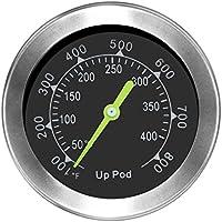 UPPOD Thermometer grillzubehör thermostat grill thermometer für smoker 8,9mm mit Rosette, Grillen, Backen, Ofen und Räucherofen S304 Edelstahl (Bis zu 400 °C)
